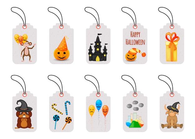 Conjunto de etiquetas ou etiquetas de preço de halloween