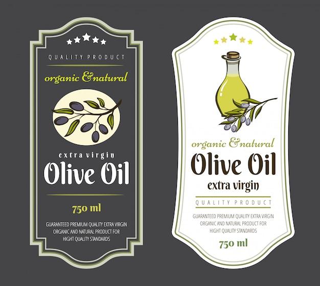 Conjunto de etiquetas para azeites de oliva. design elegante para embalagem de azeite.