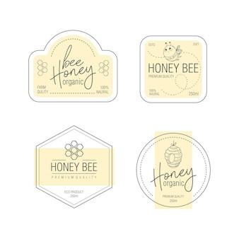 Conjunto de etiquetas para mel de abelha modelos de design de embalagens de produtos