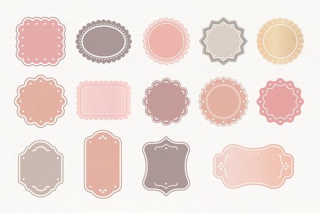 Conjunto de etiquetas pastel