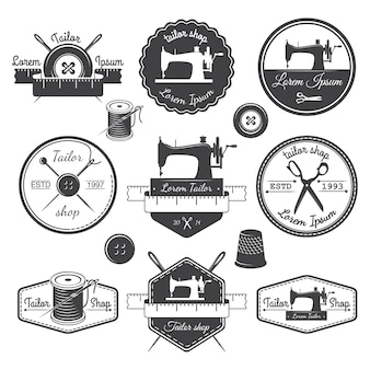 Conjunto de etiquetas personalizadas vintage, emblemas e elementos desenhados. tema de alfaiataria