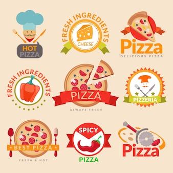 Conjunto de etiquetas pizzeria