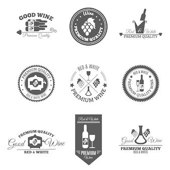 Conjunto de etiquetas plana de vinho