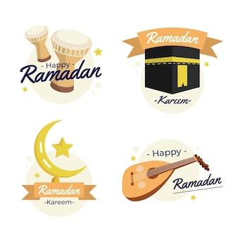 Conjunto de etiquetas plano ramadan