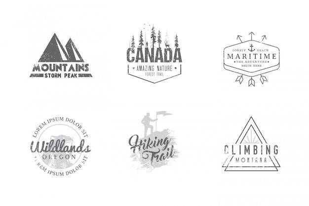 Conjunto de etiquetas premium sobre os temas da vida selvagem, natureza, caça, viagens, natureza selvagem, escalada, camping, vida nas montanhas,