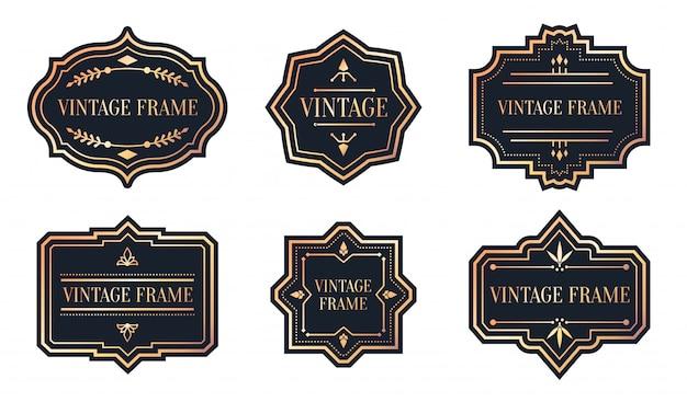 Conjunto de etiquetas pretas retrô com vintage de moldura de ouro rosa. forma diferente de adesivo do pacote.