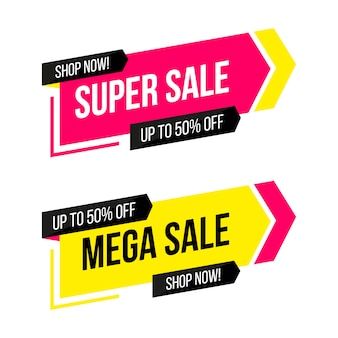 Conjunto de etiquetas promocionais super sale e mega sale