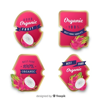Conjunto de etiquetas realista lichia orgânica