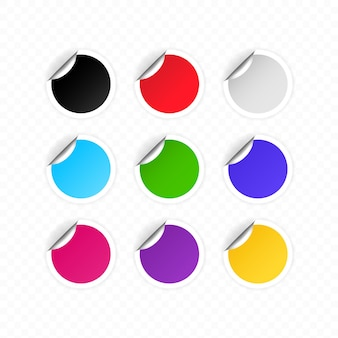 Conjunto de etiquetas redondas coloridas em branco ou adesivos redondos