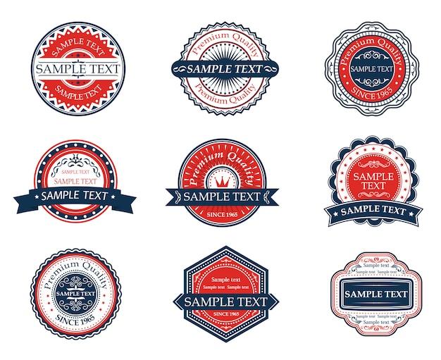 Conjunto de etiquetas retrô de azul e vermelho