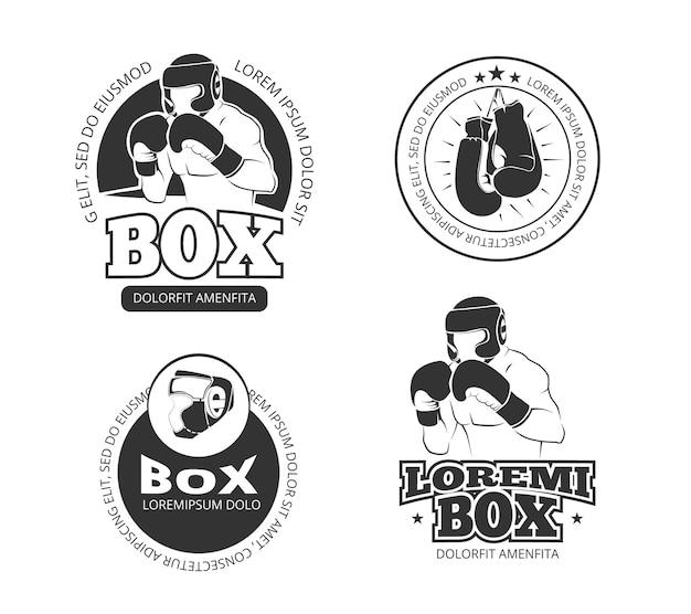 Conjunto de etiquetas retrô de boxe vector