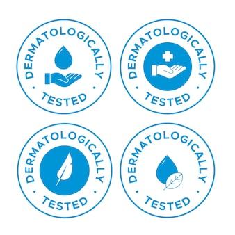 Conjunto de etiquetas testadas dermatologicamente