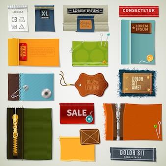Conjunto de etiquetas têxteis