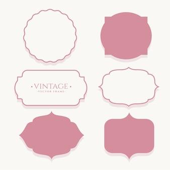 Conjunto de etiquetas vazias de quadro vintage de casamento