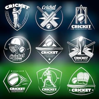Conjunto de etiquetas vintage brancas para críquete
