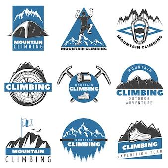 Conjunto de etiquetas vintage coloridas de escalada