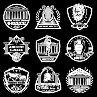 Conjunto de etiquetas vintage da grécia antiga