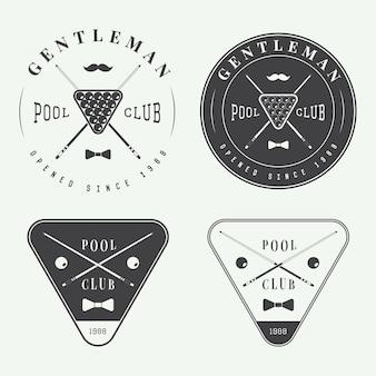 Conjunto de etiquetas vintage de bilhar, emblemas e logotipo