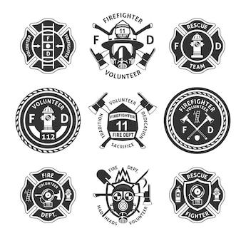 Conjunto de etiquetas vintage de combate a incêndios monocromático