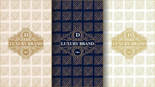 Conjunto de etiquetas vintage de luxo com logotipo e moldura para embalagem de produto de caixa de produto e enseada