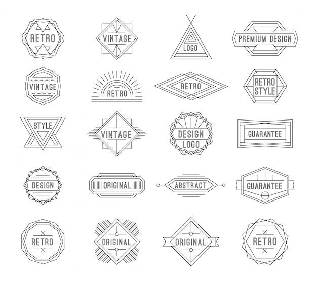 Conjunto de etiquetas vintage geométricas mínimas com o lugar do texto.