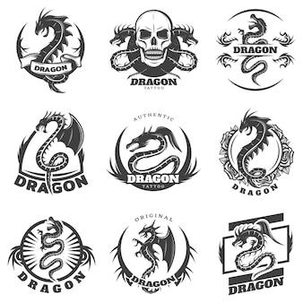 Conjunto de etiquetas vintage monocromáticas de dragão