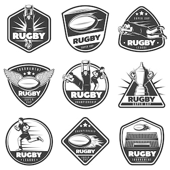 Conjunto de etiquetas vintage monocromáticas de rugby