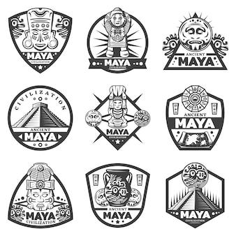 Conjunto de etiquetas vintage monocromáticas maia