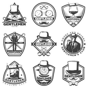 Conjunto de etiquetas vintage monocromáticas para cavalheiros