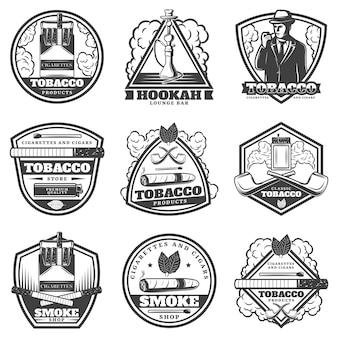 Conjunto de etiquetas vintage monocromáticas para fumar