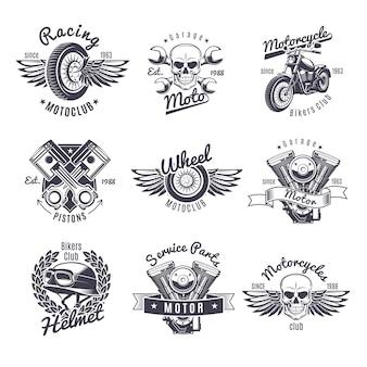 Conjunto de etiquetas vintage monocromáticas para motocicletas