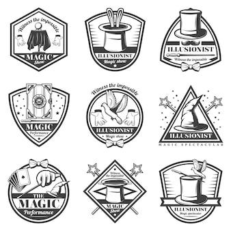 Conjunto de etiquetas vintage monocromáticas para shows de mágica