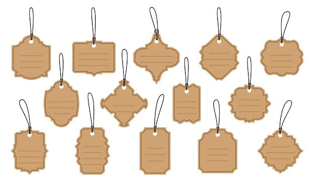 Conjunto de etiquetas vintage retrô no conjunto de etiquetas kraft.