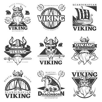 Conjunto de etiquetas vintage viking