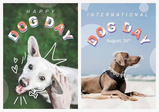 Conjunto de eventos editáveis para animais de estimação com modelo de pôster de dia de cachorro