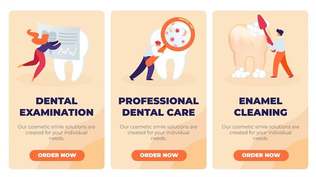 Conjunto de exame dentário, atendimento odontológico profissional.