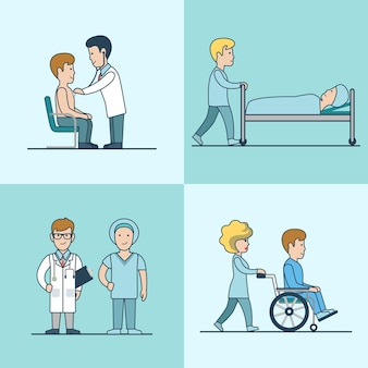 Conjunto de exame médico plano linear, tratamento, reanimação e alta hospitalar. personagens de médicos e pacientes. cuidados de saúde, conceito de ajuda profissional.