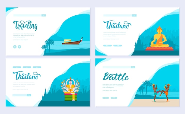 Conjunto de excursão de viagem de ornamento de país de tailândia. tradicional asiático, revista, livro, cartaz, elemento.