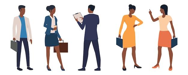 Conjunto de executivos de negócios masculinos e femininos com maletas