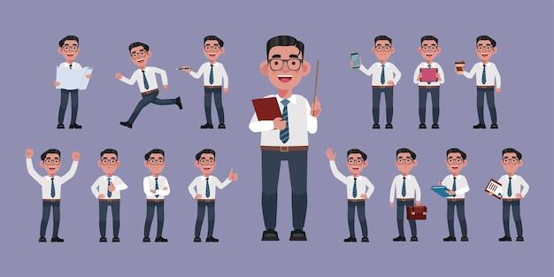 Conjunto de executivos planos com diferentes poses