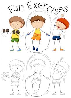 Conjunto de exercício de pessoas de doodle