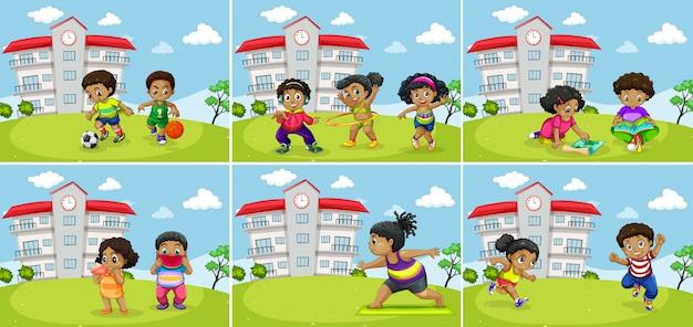 Conjunto de exercício gordo de crianças