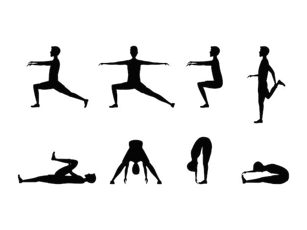 Conjunto de exercícios de alongamento com o homem silhueta. esportes e preparo físico para a saúde.