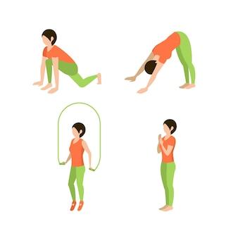 Conjunto de exercícios de fitness para mulheres