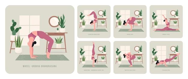 Conjunto de exercícios de ioga jovem praticando poses de ioga