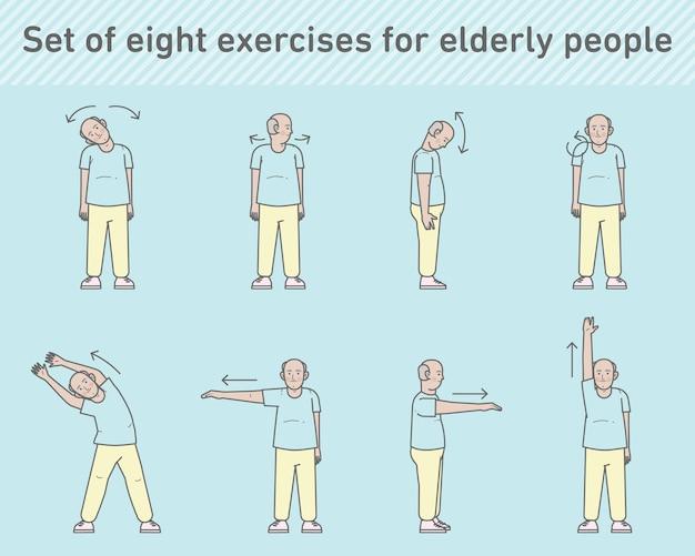 Conjunto de exercícios de personagem de homem idoso premium