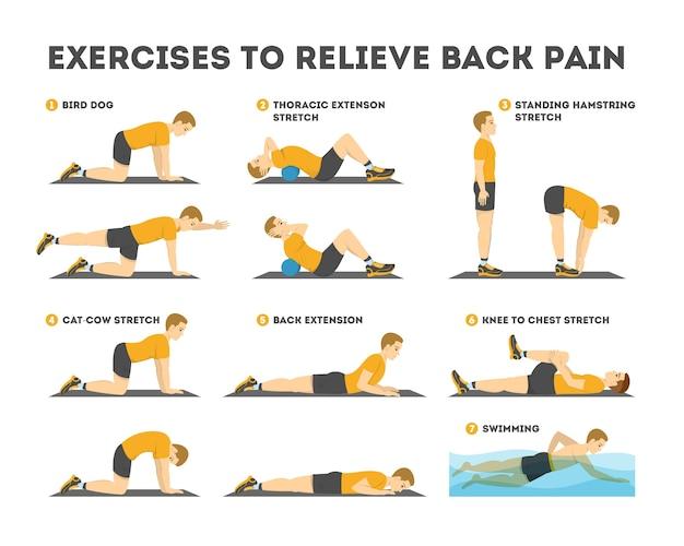 Conjunto de exercícios para aliviar a dor nas costas. alongamento e treinamento