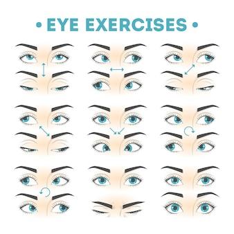 Conjunto de exercícios para os olhos. coleção de movimento para os olhos