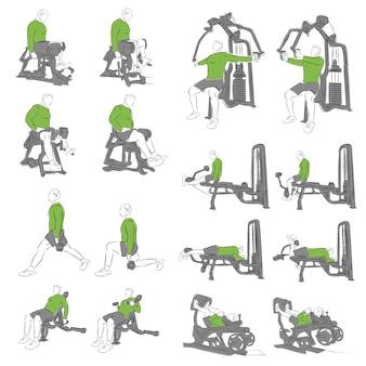 Conjunto de exercícios sistemáticos de musculação para equipamentos básicos