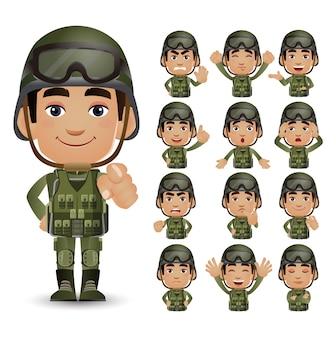 Conjunto de exército com emoção diferente